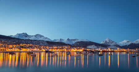 Nice view of the city of Ushuaia at night Stock Photo