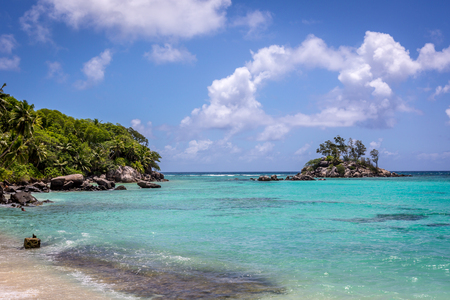 Beautiful beach in island of Mahe in Seychelles, the main island of the country Stock Photo