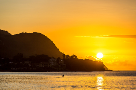 Orange sunset in Mahe island in Seychelles