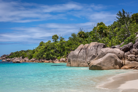 Beautiful beach Anse Lazio in Praslin, one of the most visited places of Seychelles
