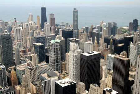 windy city: High Rise Buildings in Downtown Chicago, Illinois