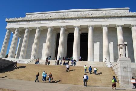lincoln: Abraham Lincoln Memorial in Washington DC, USA  Stock Photo