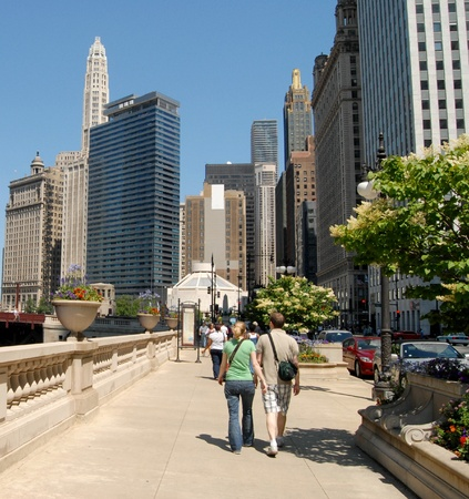 Couple Walking in Downtown Chicago, Illinois USA