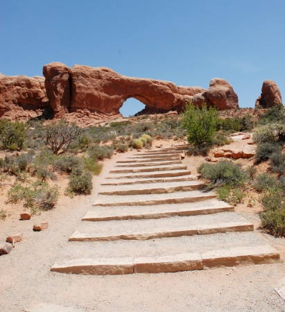 arches national park: The Window at Arches National Park in Utah, USA  Stock Photo