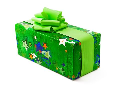 One gift wrapped in green christmas paper with green bows. Ideal Christmas Present type Photo. photo