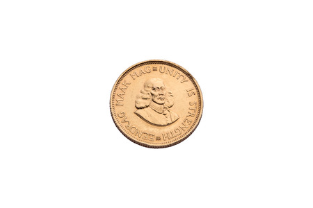 rand: An Eendrag Maak Mag 2 Rand gold coin isolated