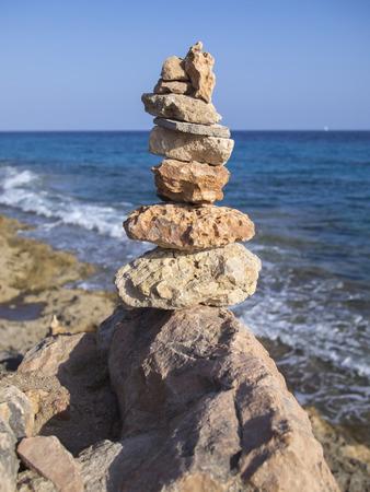 Pile of stones in the seaside in Majorca, Balearic Islands, Spain