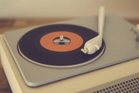 music listening: Retro record player from the sixties