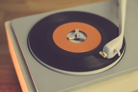 Retro record player from the sixties, close up photo