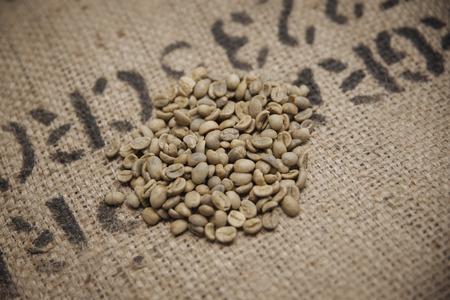 Green fresh coffee beans on sack photo