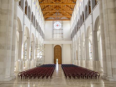 PRISTINA, KOSOVO - JUNE 2016: New interior of Roman Catholic Cathedral of Blessed Mother Teresa in Pristina, Kosovo.