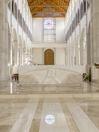 Mother Teresa: PRISTINA, KOSOVO - JUNE 2016: New interior of Roman Catholic Cathedral of Blessed Mother Teresa in Pristina, Kosovo.