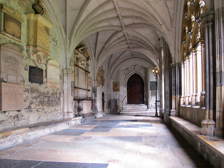 LONDON, ENGLAND - OCTOBER 2014: Westminster Abbey passage and courtyard