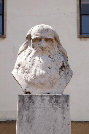 pecs: PECS, HUNGARY - JULY 2015: Sculpture of Leonardo da Vinci in Pecs, Hungary.