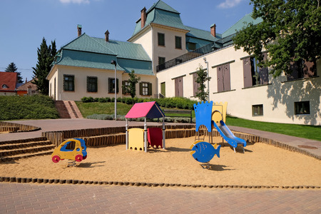 pecs: PECS, HUNGARY - JULY 2015: Children playground in front of the old Puppet Theatre in Pecs. Editorial