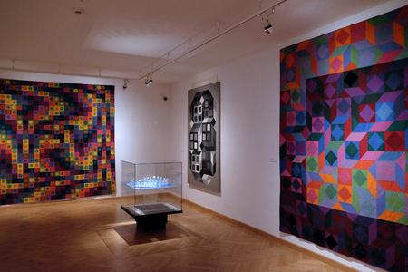 PECS, HUNGARY - JULY 2015: Artwork at the Vasarely Museum in Pecs Hungary