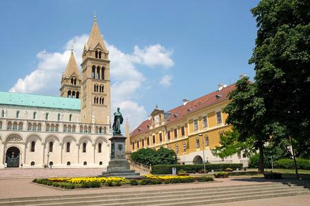 pecs: PECS, HUNGARY - JULY 2015: Exterior of the beautiful St. Peter and St. Paul Basilica in Pecs, Hungary.