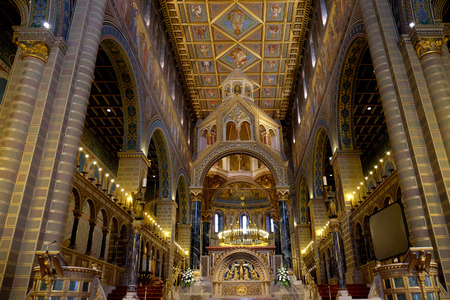 PECS, HUNGARY - JULY 2015: Golden interior of the beautiful St. Peter and St. Paul Basilica in Pecs, Hungary.