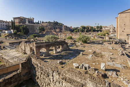 colonade: ROME, ITALY - SEPTEMBER 2016: Ruins at the Roman Forum Editorial