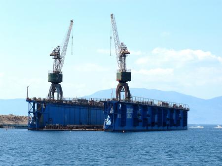 shipbuilding: KRALJEVICA, CROATIA - AUGUST 2012 Shipyard dock for restoring ships in Kraljevica Editorial