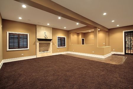 construction level: Lower level family room in new construction home Stock Photo