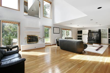 Family room and fireplace  in open floor plan Stock Photo - 6733378