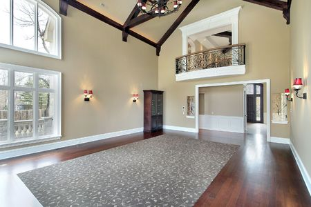 Large family room with balcony and foyer view Stock Photo - 6761096