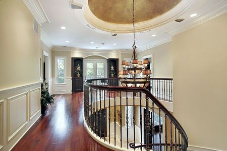 second floor: Second floor landing with large oval on ceiling