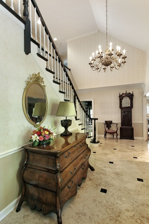 entryway: Hallway in suburban home leading to foyer