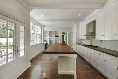 Luxury white kitchen with large island and cabinets photo