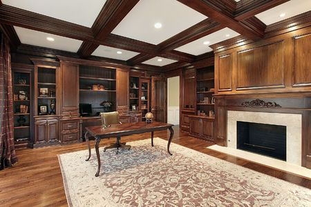 Library in luxury home with fireplace Stock Photo - 6732430