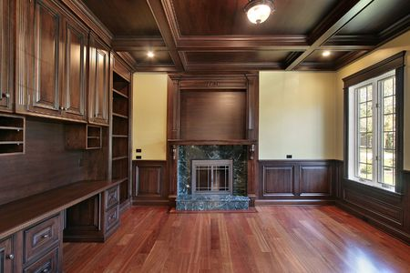 Library in luxury home with cherry wood paneling Stock Photo - 6760924