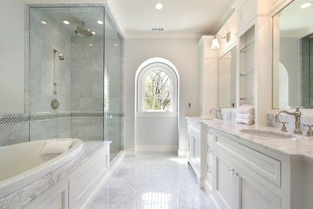 Master white bath in new construction home Stock Photo - 6732646