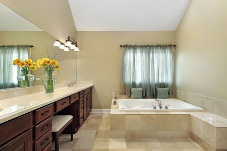Master bath in luxury home with large tub Stock Photo - 6733488