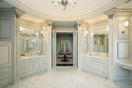 Master white bath in new construction home photo
