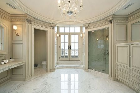 bathroom interior: Master white bath in new construction home