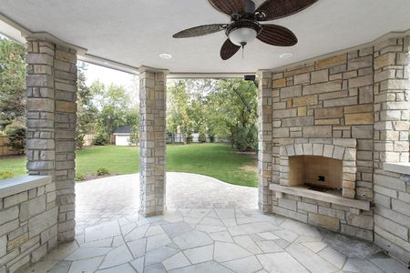 patio: Stone covered patio in new construction home