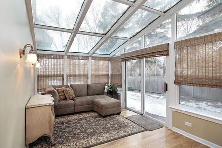 back yard: Family room with skylights and door to back yard