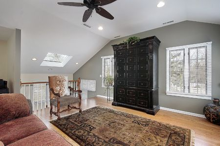 second floor: Second floor family room with staircase and skylight