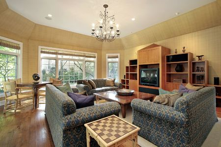 Family Room In Luxury Home With Card Table Stock Photo   6732506