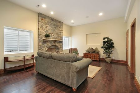 Lower level basement in luxury home with stone fireplace Stock Photo - 6732718