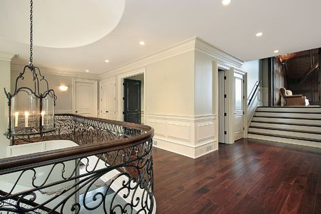 entryway: Second floor landing with view into office Stock Photo