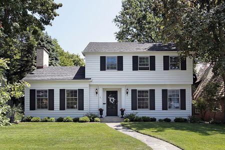 View of suburban home with white siding Stock Photo - 6733534