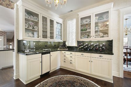 cabinets: Traditional white cabinet pantry and glass cabinets Stock Photo