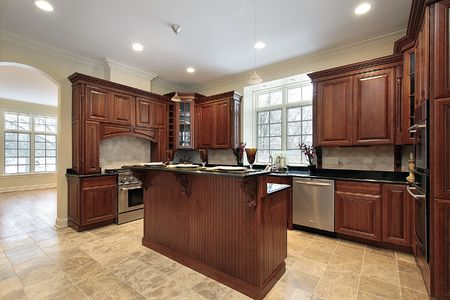Kitchen and island in new construction home photo