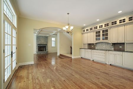 eating area: Large eating area with view into family room Stock Photo