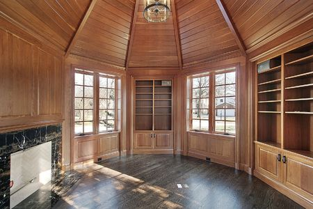 Library in new construction home with wood paneled walls Stock Photo - 6733291