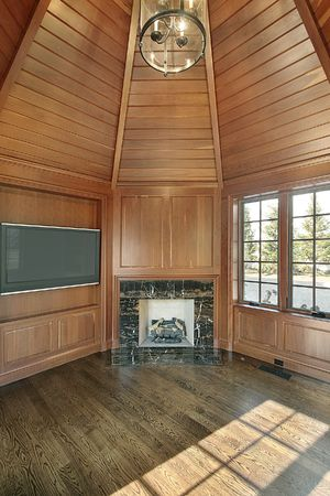 Library in new construction home with paneled walls and fireplace Stock Photo - 6760909