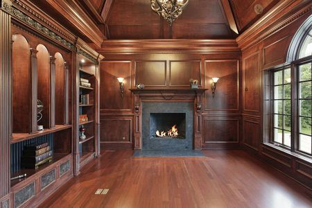 Elegant library in luxury home with black marble fireplace photo