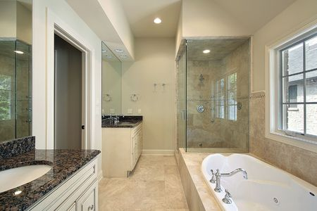 Master bath in new construction home with glass shower Stock Photo - 6732665